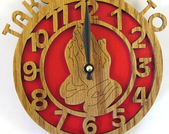 Take time to pray clock scroll saw cut, wooden art, fretwork, handmade, wall decor, woodworking--1cl