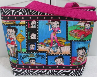 Hollywood Pin up Girl Large Tote Bag Black and White Zebra Print Purse Betty Boop Alternative Fashion Shoulder bag Ready to Ship