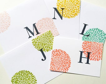 Custom Hand Stamped. Initial Notecards. Personalized Gifts for Mom under 20. Letter Stationery. Colorful Initial. Stampin Up Custom Card Set