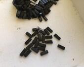 antique vintage glass nailhead bead tiles rectangular  1920s  lot jet black victorian morning beads