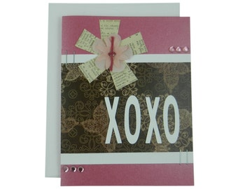 XOXO Valentines Day Card Love Greeting Card Valentine Gift for Girlfriend Handmade Greeting Valentine's Day Card Valentine Greeting Pink