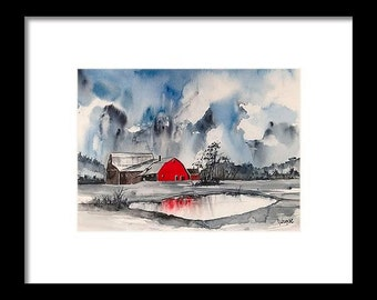 Original colorful print LANDSCAPE original watercolor original painting modern LANDSCAPE PAINTING