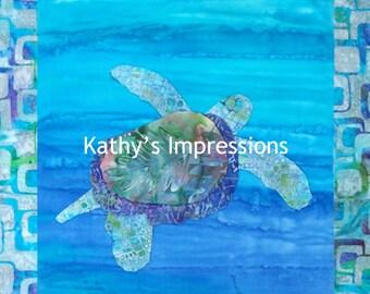 10x10 Tropical Hawaiian Honu Blue SEA TURTLE Batiks - Premium Metallic Print