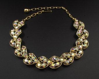 Schrager Rhinestone Necklace, Aurora Borealis Necklace, Bridal Necklace, Gold Necklace, Prom Necklace, Rhinestone Leaf Necklace
