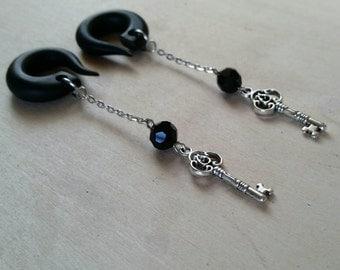 Black Crystal Key Drop  Gauged Earring Plugs