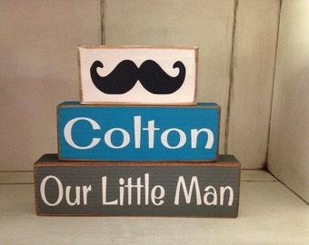 Personalized Our Little Man Three Piece Primitive Mustache Stacker Boys Room Decor Birthday Centerpiece Cute