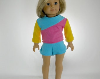 18 inch doll clothes made to fit dolls such as American Girl®, Color Block Top and Shorts Set, 05-1119