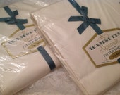 Vintage Wamsutta Supercale Fitted Sheet ~ Twin Size Sheet Fitted ~ 100% Cotton Bedding ~ Made In USA ~ Ivory Color Solid ~ Bedding