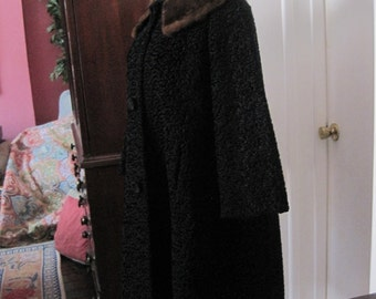 Faux Black Persian Lamb Coat with Genuine Brown Mink Collar Vintage size 14 size 16 women's