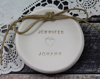 His and Hers ring dish Names Ring bearer pillow alternative, Personalized wedding ring bearer Ring dish Wedding Ring pillow