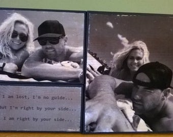 Modern Picture Frame, Photo transfer to wood, picture on wood, wood picture frame, wood anniversary gift, custom picture frame, photo board