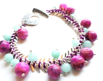 Silver fishbone chain bracelet with pink agate and amazonite beads-gemstone beads-amazonite-pink agate-boho chic-pink and blue-boho style