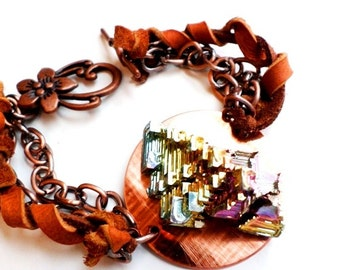 Boho style Chain and leather bracelet with copper disc and bismuth crystal-bismuth jewelry-bismuth-copper and leather-copper bracelet