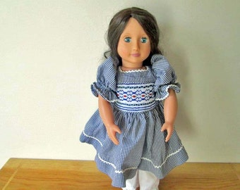 "Doll Dress, 18"", Hand-Smocked - Dark Blue Micro-Gingham WITH BONUS!"