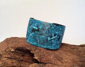 Brass Cuff, Brass Bracelet, Patina Brass Cuff, Patina Brass Bracelet, Rustic Jewelry, Blue Brass Cuff