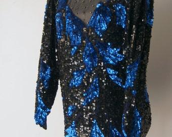 Vintage 1980s Lillie Rubin Sequinned Blouse LArge
