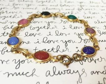 Multicolor Bracelet, Unique Cabochon Bracelet, Gold Link Bracelet with Lobster Clasp, Loose Bracelet, Vintage Gold Bracelet, Lucite Bracelet