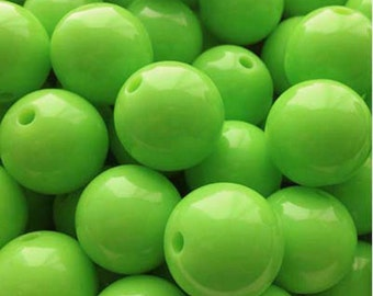 "12mm (15/32"") Round Kelly Lime Acrylic / Plastic Opaque Beads (20 pcs). 2.59mm hole. 030703"