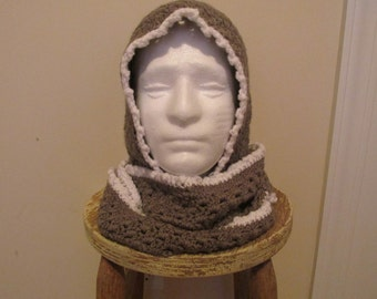Scoodie Hooded Scarf in Dark Grey and White - Ready to Ship!