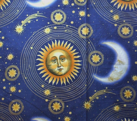 Celestial collection large sun moon star blue in the beginning for Sun and moon fleece fabric