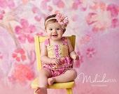 Baby girl one piece Halter Romper  in ....Spring Rose....Sizes 3 months thru 4T
