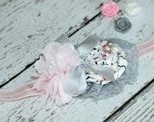 Girls Shabby Chic Retro Gray and Pink Heaband Toddler, Infant, rolled rose Flower
