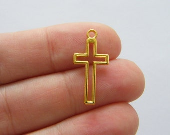 16 Cross charms gold tone GC176