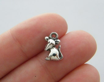 16 Mouse charms antique silver tone A264