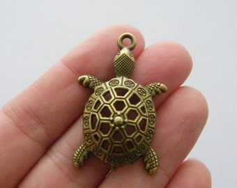 2 Turtle charm antique bronze tone BC121