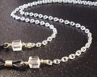 Handmade Clear cube crystals and Silver Chain Eye Lanyard adjustible eye grips