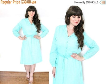 ON SALE Seafoam Dress / Mint 1970's Dress
