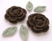 "Chocolate Brown 1-3/4"" Crochet Rose Flower Embellishments w/ Leaves Handmade Scrapbooking Fashion Accessories Appliques - 6 pcs. (3240-02L)"