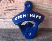 Sale Cast Iron  Bottle Opener/Beer Soda Pop/ Retro Opener Painted in Blue /Wall Mounted