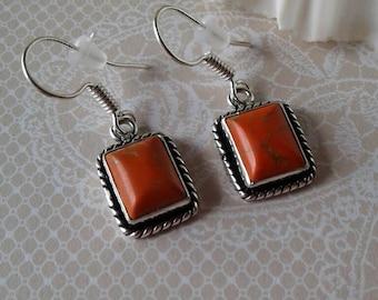 Orange Copper Turquoise Earrings