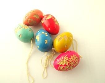 Carved Wood Eggs - Vintage