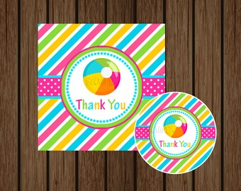 Pool Party Favor Tag, Waterslide Favor, Pool Party Birthday Printable, Waterslide Birthday, Swimming Pool Party, Instant Download