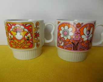 Two Vintage MOD Bright Mugs