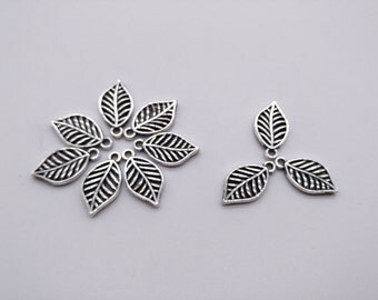 5 pcs 20mm Antique Silver Leaf Charms - Hollow Carved Charm, Metal Leaf Charm, Jewelry Making Findings Craft Supplies
