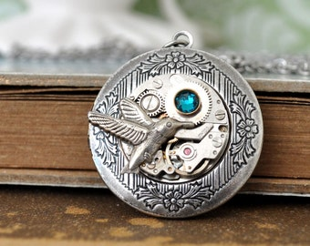 silver steampunk locket necklace TINY HUMMING BIRD antique silver steampunk vintage jeweled watch movement locket necklace with steel chain