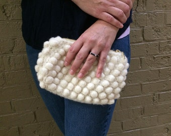 Cream Wool Felted Bubble Clutch with Gold Accents