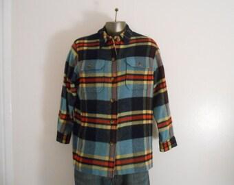 Vintage Plaid Shirt/Long Sleeved Shirt/Size Large/Chest Size 42/Men's Wool Short
