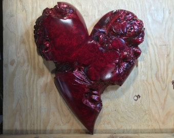 On HoLD FoR ShERRy-NoT FoR SaLE-Red Maple Burl wooden heart Personalized love you more Anniversary gift wood heart