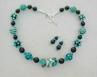 Fabulous Focal Turquoise Lampwork Glass Bead, Dotted & Striped Lampwork Glass Beads, Necklace Set by SandraDesigns