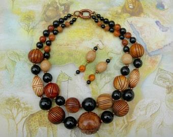 RARE Meerschaum Beads, Onyx, Agate & Camel Wood Beads, 2-Multi-Strand Statement Choker Necklace Set by SandraDesigns