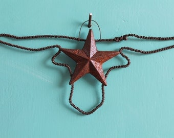 rusted wire longhorn with Texas star hanging wall decor/ ornament
