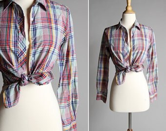 Vintage Summer Primary Color Plaid Button Up - Blue Green Yellow Red Women's Women Tie Up Pin Up Long Sleeve Shirt Top Retro - Size Medium
