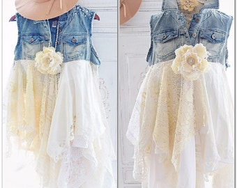 Pearl n lace duster, boho denim kimono, French shabby cottage chic lace duster vest, Romantic boho clothing, Gypsy spell True rebel clothing