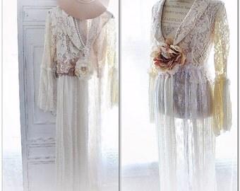 Creme lace duster, Romantic boho style lace blazer jacket, shabby cottage chic french market long kimono, Parisian woman True rebel clothing