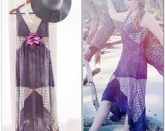 Fall plum cotton dress, Boho spell and gypsy high low maxi dress, romantic bohemian chic dress, romantic fall clothing, True rebel clothing