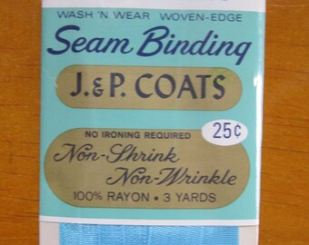 vintage j & p coats seam binding 3 yards in cruise blue # 190